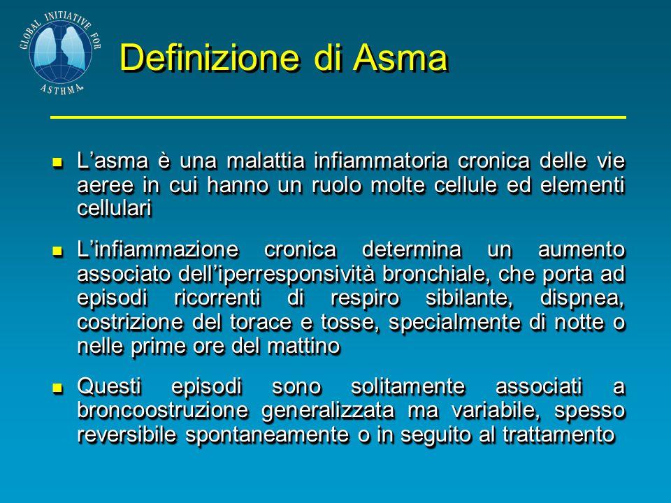 Definizione di AsmaL'asma è una malattia infiammatoria cronica delle vie aeree in cui hanno un ruolo molte cellule ed elementi cellulari.