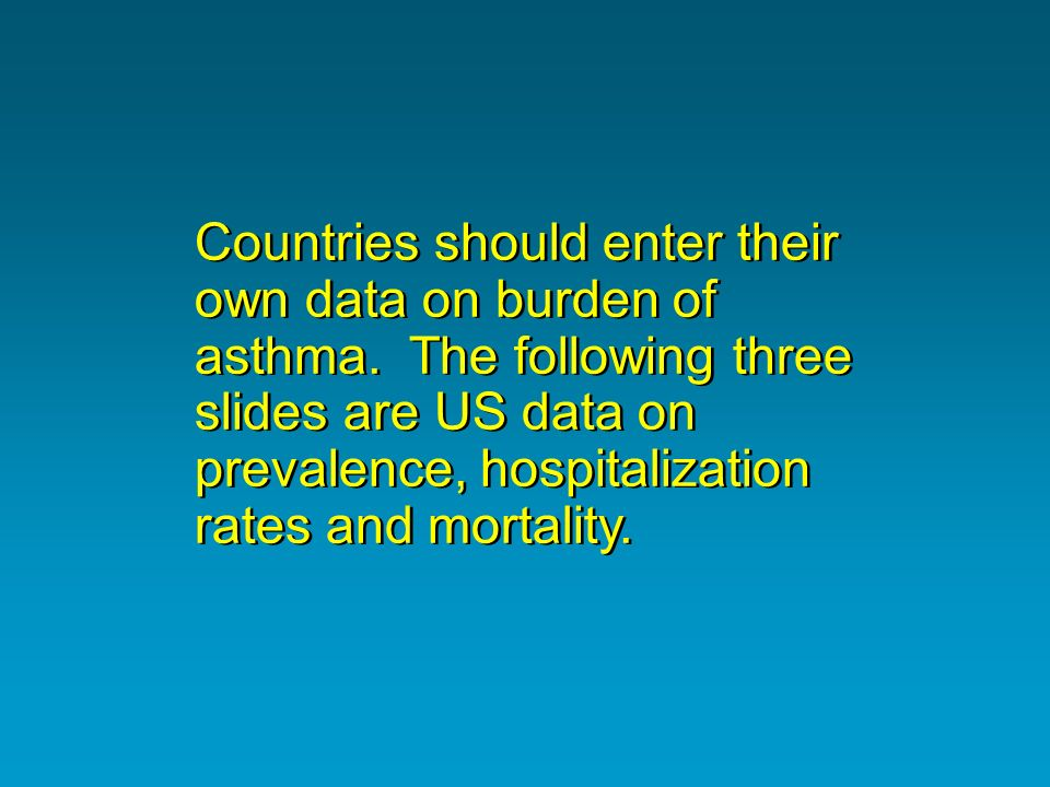 Countries should enter their own data on burden of asthma