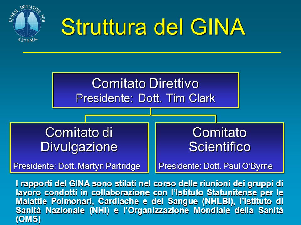 Comitato Direttivo Presidente: Dott. Tim Clark