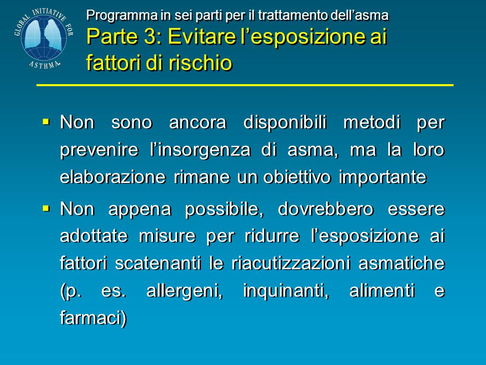 Programma in sei parti per il trattamento dell'asma Parte 3: Evitare l'esposizione ai fattori di rischio