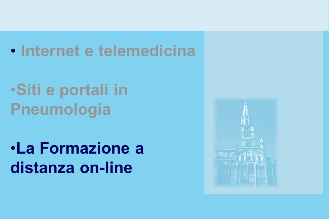 Internet e telemedicina Siti e portali in Pneumologia