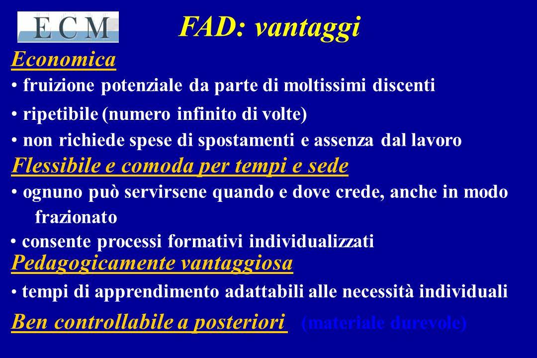 FAD: vantaggi Economica Flessibile e comoda per tempi e sede