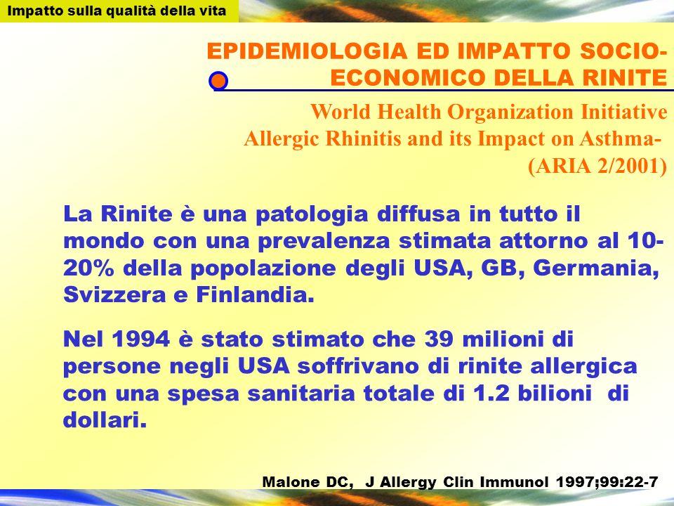 EPIDEMIOLOGIA ED IMPATTO SOCIO-ECONOMICO DELLA RINITE