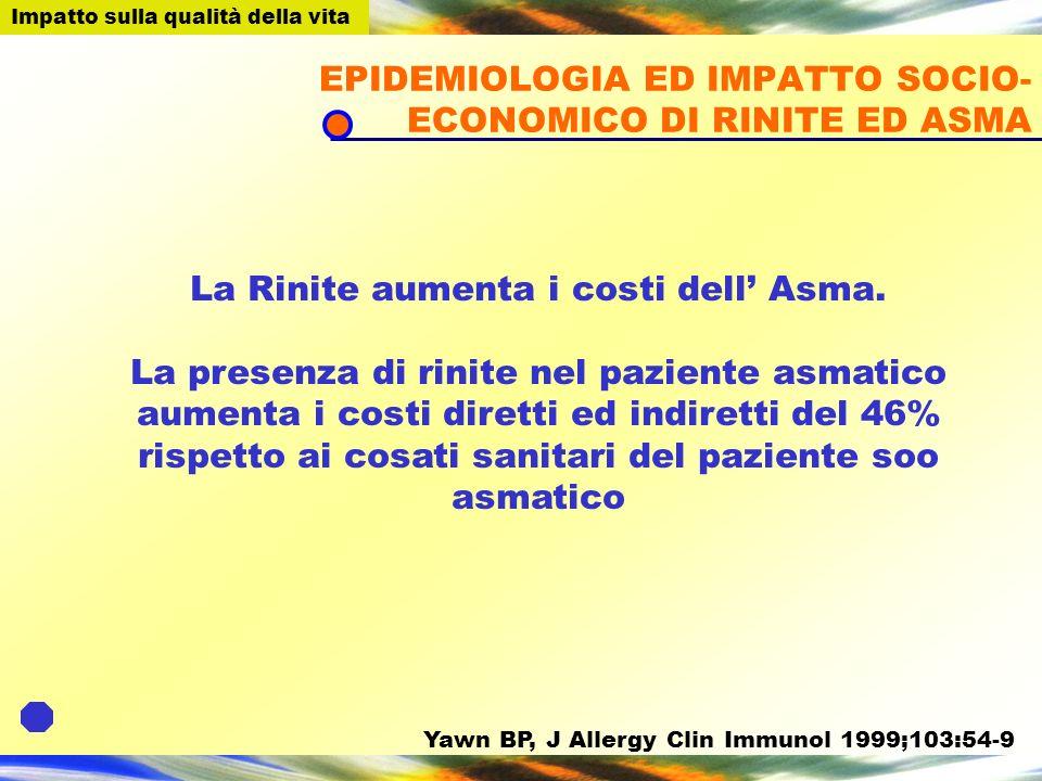 EPIDEMIOLOGIA ED IMPATTO SOCIO-ECONOMICO DI RINITE ED ASMA