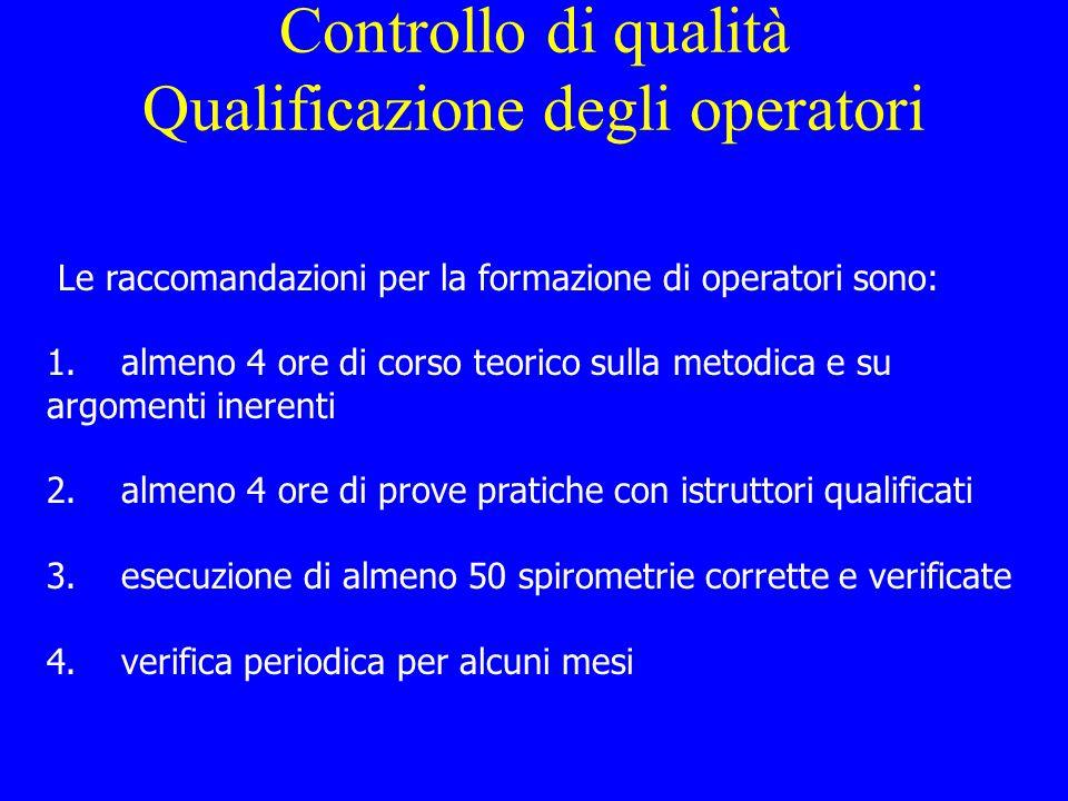 Controllo di qualità Qualificazione degli operatori
