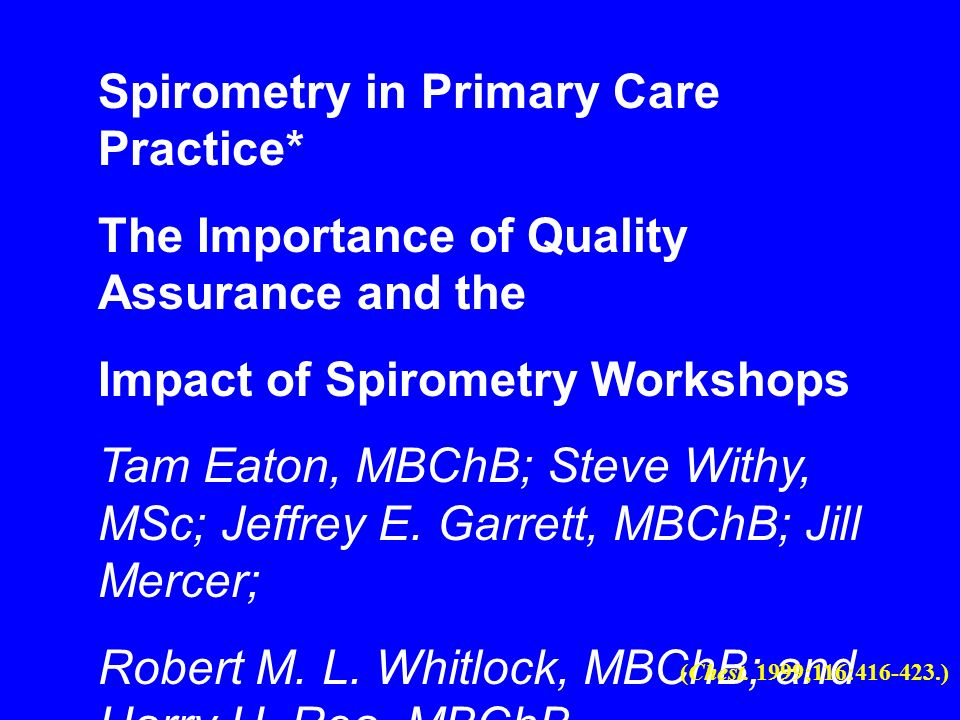Spirometry in Primary Care Practice*