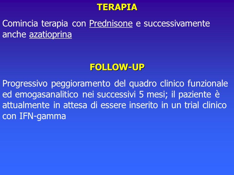 TERAPIAComincia terapia con Prednisone e successivamente anche azatioprina. FOLLOW-UP.