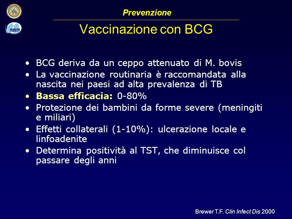 Vaccinazione con BCG BCG deriva da un ceppo attenuato di M. bovis