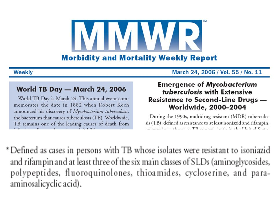 The recent MMWR report on emergence of Extensively drug resistant tuberculosis further emphasizes and alerts us to the need for working collboratively to investigate and controlling TB outbreaks
