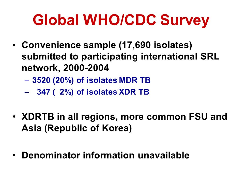 Global WHO/CDC Survey Convenience sample (17,690 isolates) submitted to participating international SRL network, 2000-2004.