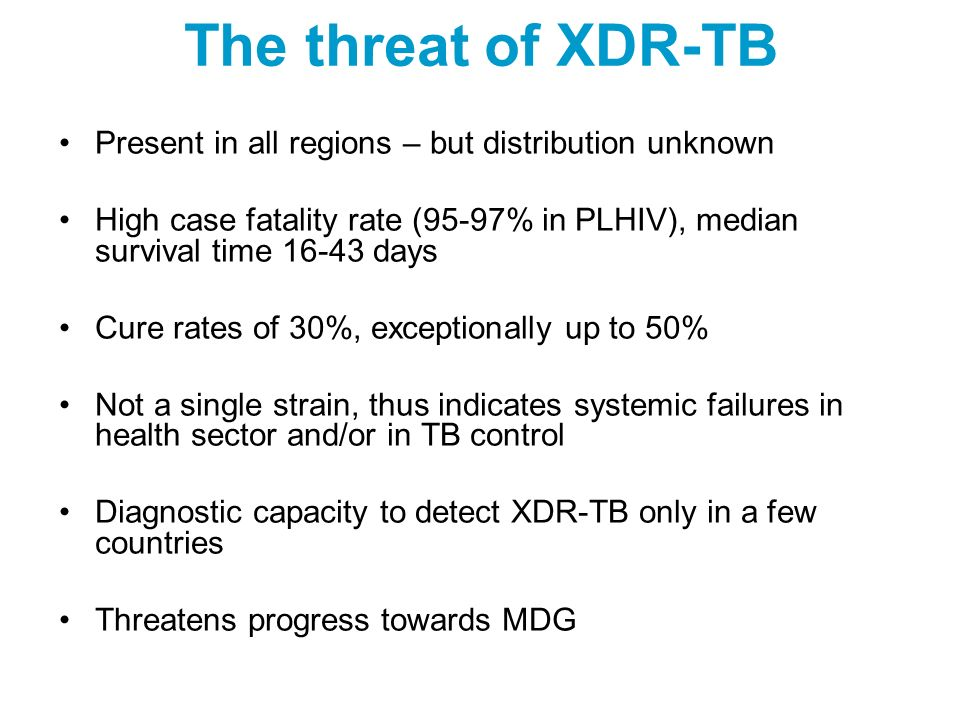 The threat of XDR-TB Present in all regions – but distribution unknown