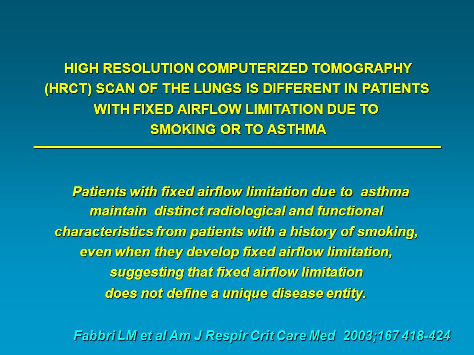 Patients with fixed airflow limitation due to asthma