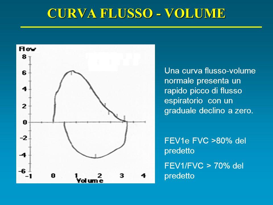 CURVA FLUSSO - VOLUME Una curva flusso-volume normale presenta un rapido picco di flusso espiratorio con un graduale declino a zero.