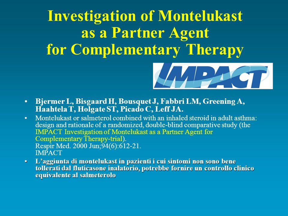 Investigation of Montelukast as a Partner Agent for Complementary Therapy