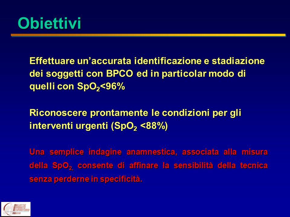 Obiettivi Effettuare un'accurata identificazione e stadiazione dei soggetti con BPCO ed in particolar modo di quelli con SpO2<96%