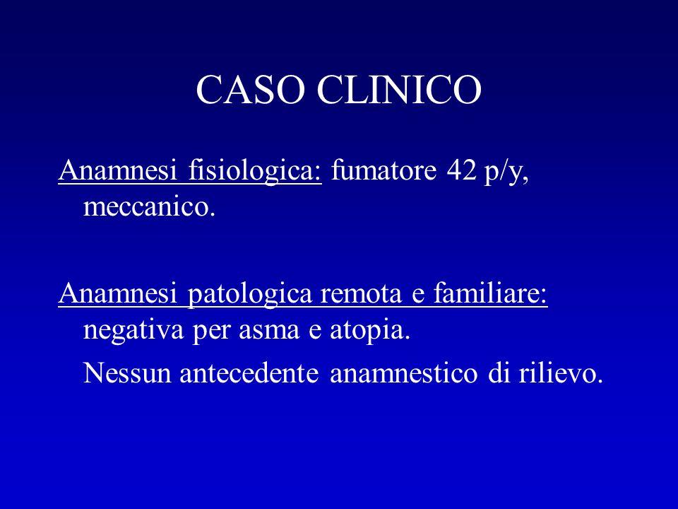 CASO CLINICO Anamnesi fisiologica: fumatore 42 p/y, meccanico.