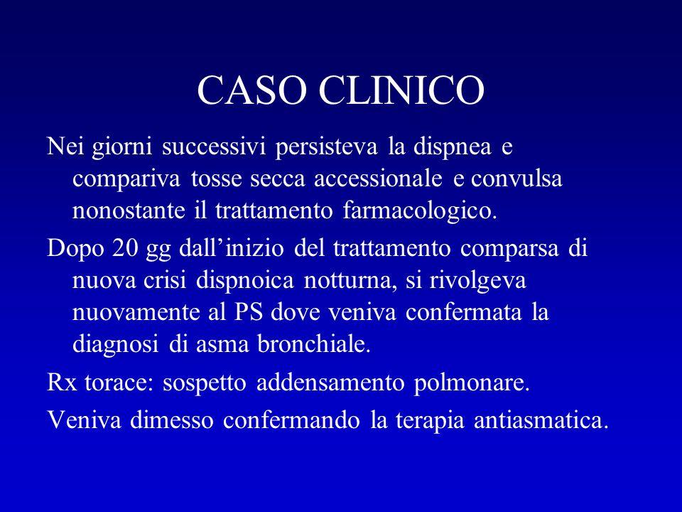 CASO CLINICO Nei giorni successivi persisteva la dispnea e compariva tosse secca accessionale e convulsa nonostante il trattamento farmacologico.