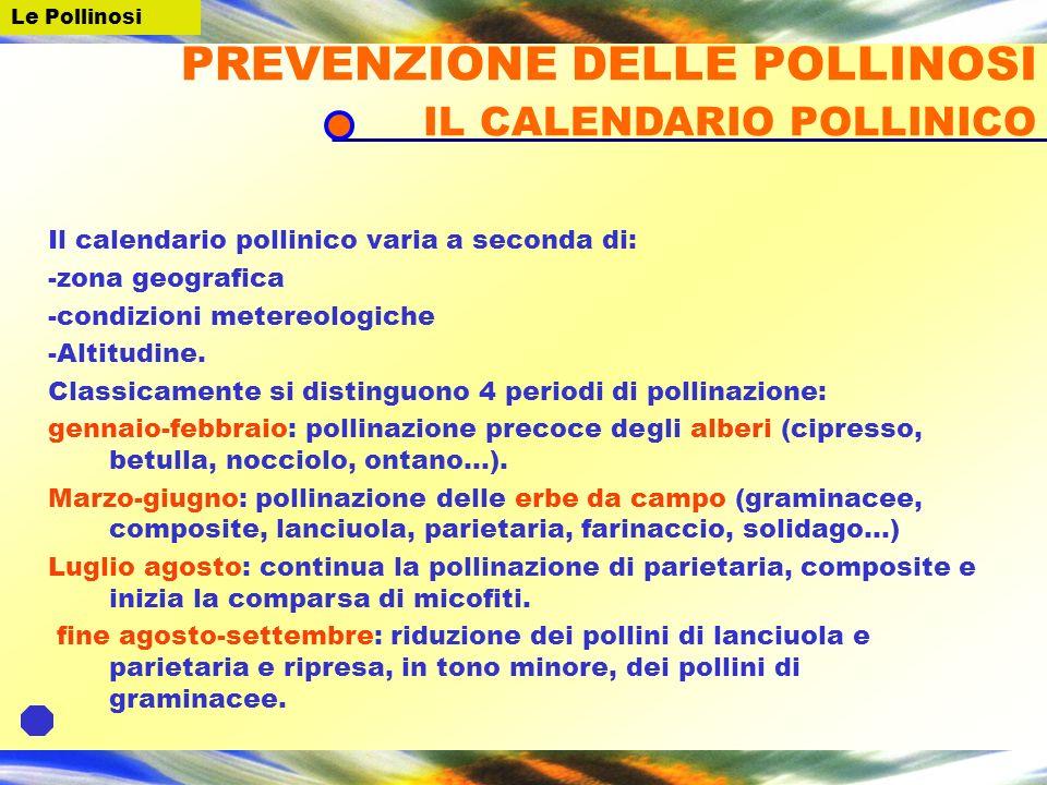 PREVENZIONE DELLE POLLINOSI IL CALENDARIO POLLINICO
