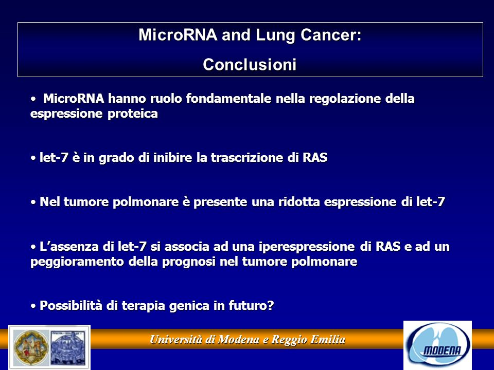 MicroRNA and Lung Cancer: Università di Modena e Reggio Emilia