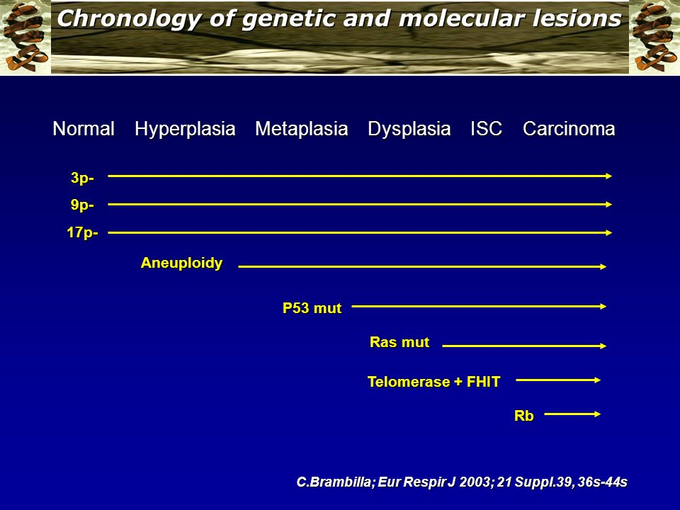 Chronology of genetic and molecular lesions