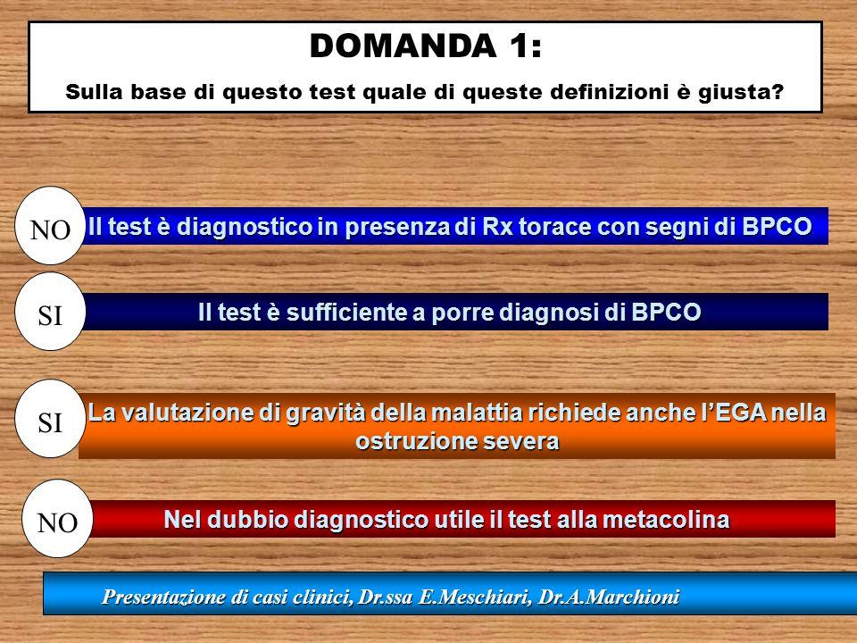 DOMANDA 1: Sulla base di questo test quale di queste definizioni è giusta NO. Il test è diagnostico in presenza di Rx torace con segni di BPCO.