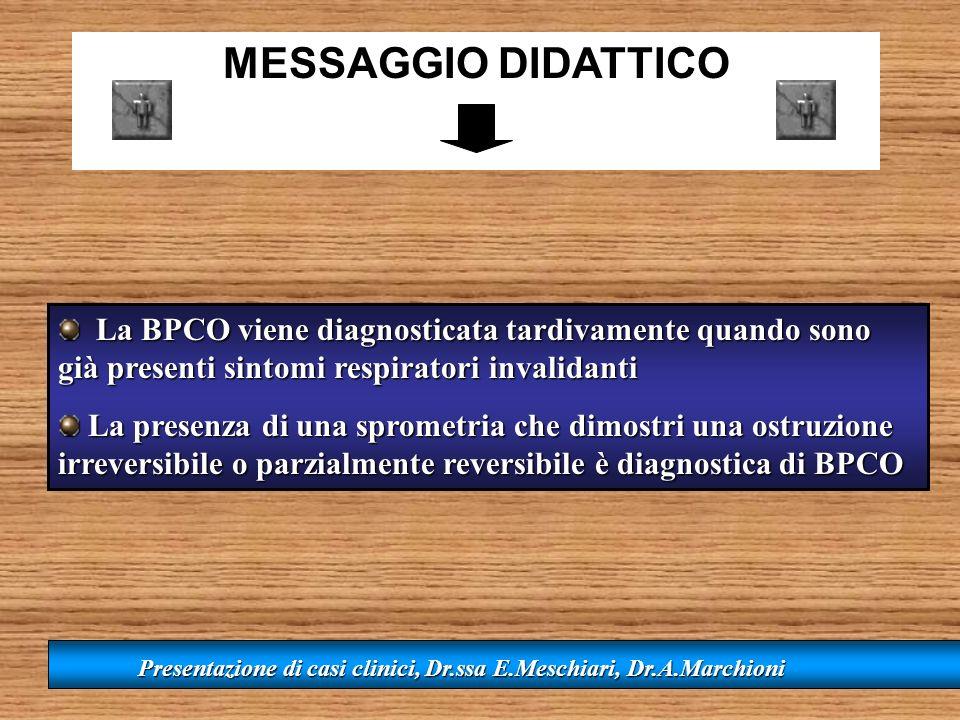 MESSAGGIO DIDATTICO La BPCO viene diagnosticata tardivamente quando sono già presenti sintomi respiratori invalidanti.