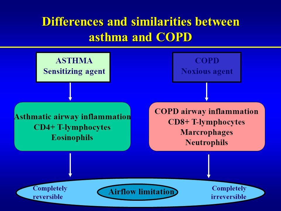 Differences and similarities between asthma and COPD