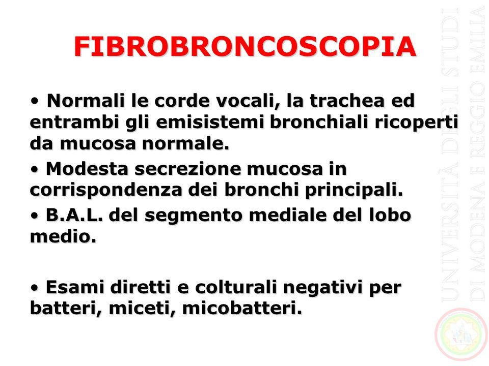 FIBROBRONCOSCOPIA Normali le corde vocali, la trachea ed entrambi gli emisistemi bronchiali ricoperti da mucosa normale.