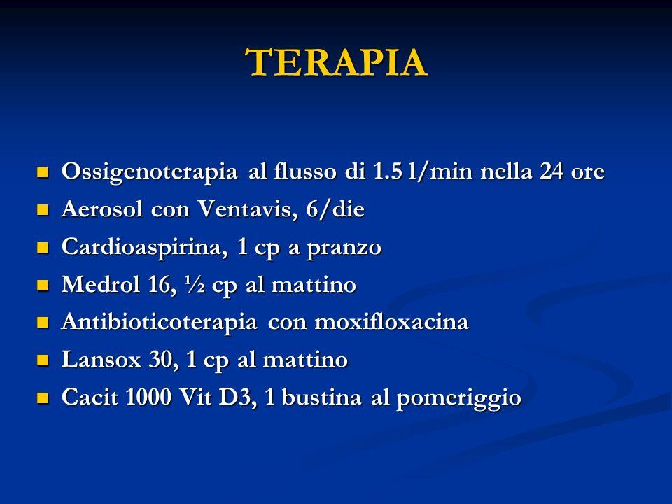 TERAPIA Ossigenoterapia al flusso di 1.5 l/min nella 24 ore