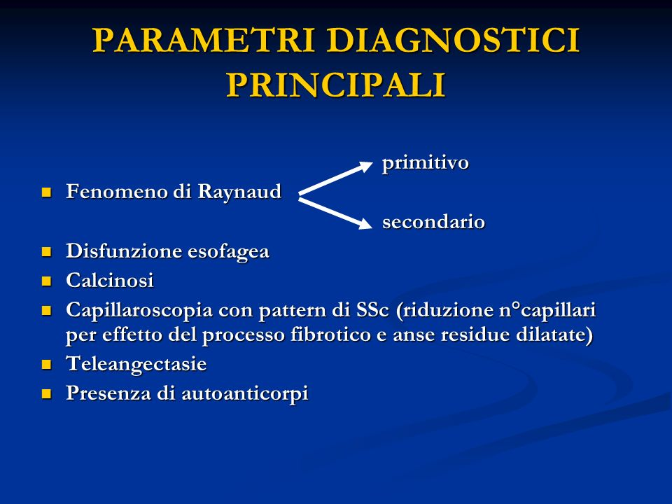 PARAMETRI DIAGNOSTICI PRINCIPALI