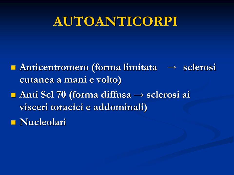 AUTOANTICORPI Anticentromero (forma limitata sclerosi cutanea a mani e volto)