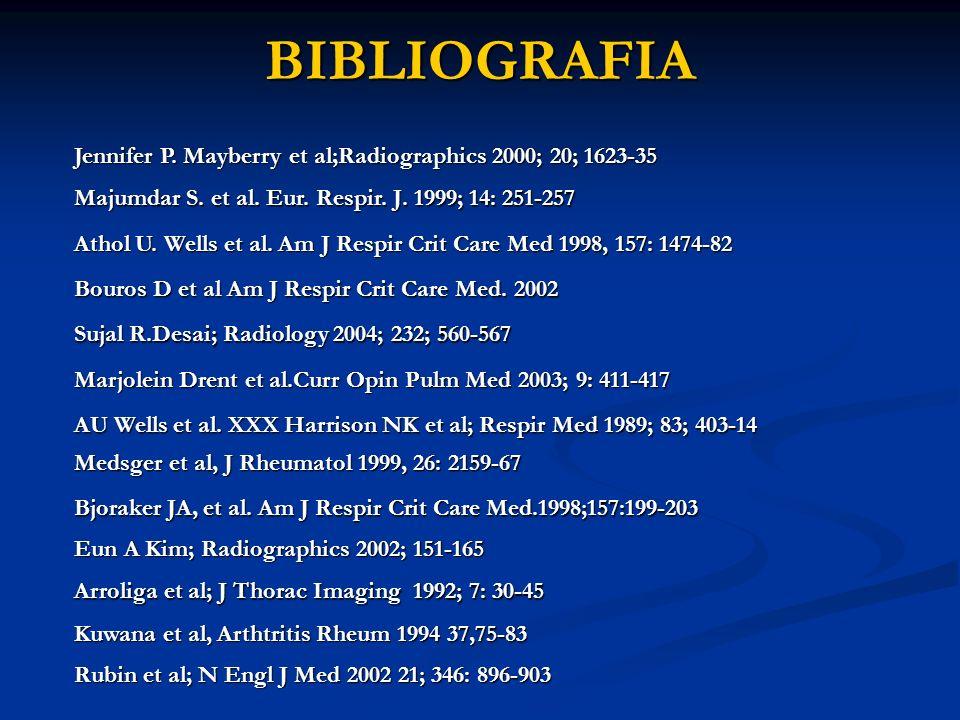 BIBLIOGRAFIA Jennifer P. Mayberry et al;Radiographics 2000; 20; 1623-35. Majumdar S. et al. Eur. Respir. J. 1999; 14: 251-257.