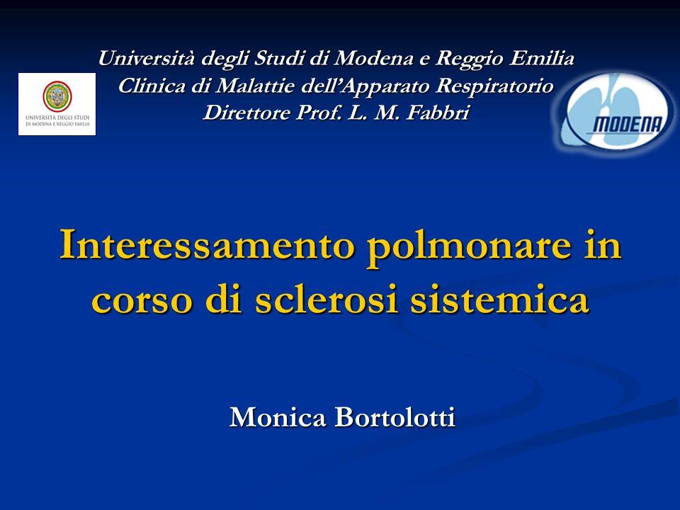 Interessamento polmonare in corso di sclerosi sistemica