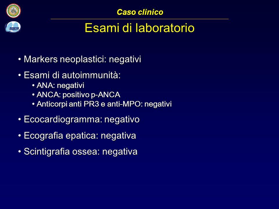 Esami di laboratorio Markers neoplastici: negativi