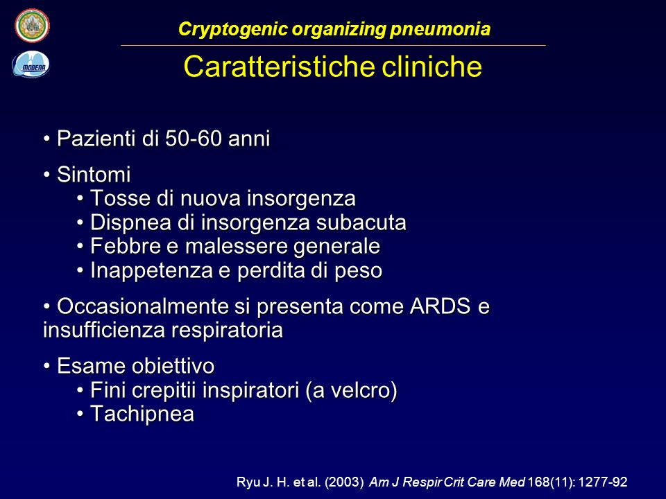 Cryptogenic organizing pneumonia