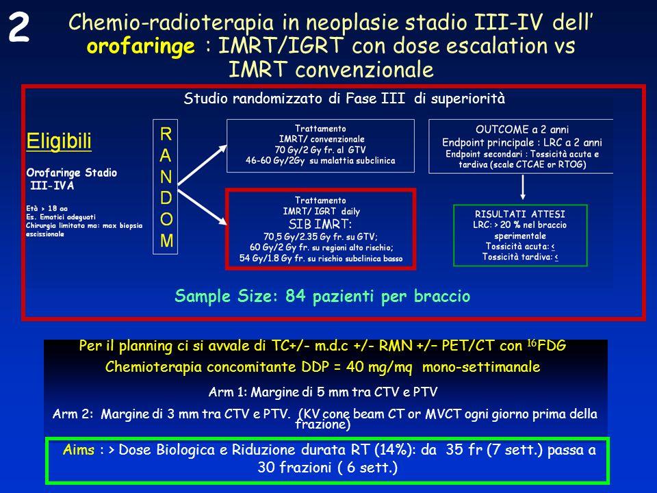 2 Chemio-radioterapia in neoplasie stadio III-IV dell' orofaringe : IMRT/IGRT con dose escalation vs IMRT convenzionale.