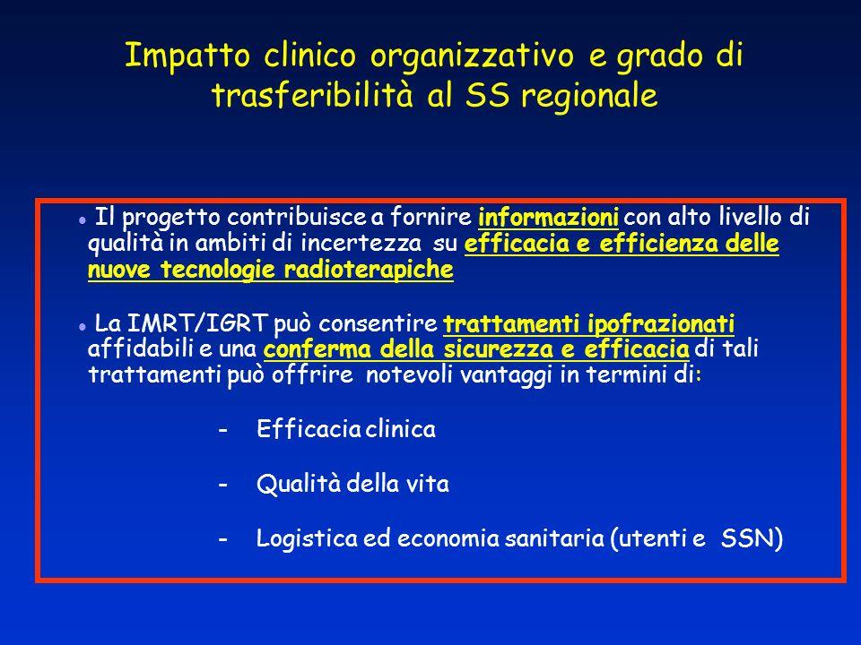Impatto clinico organizzativo e grado di trasferibilità al SS regionale