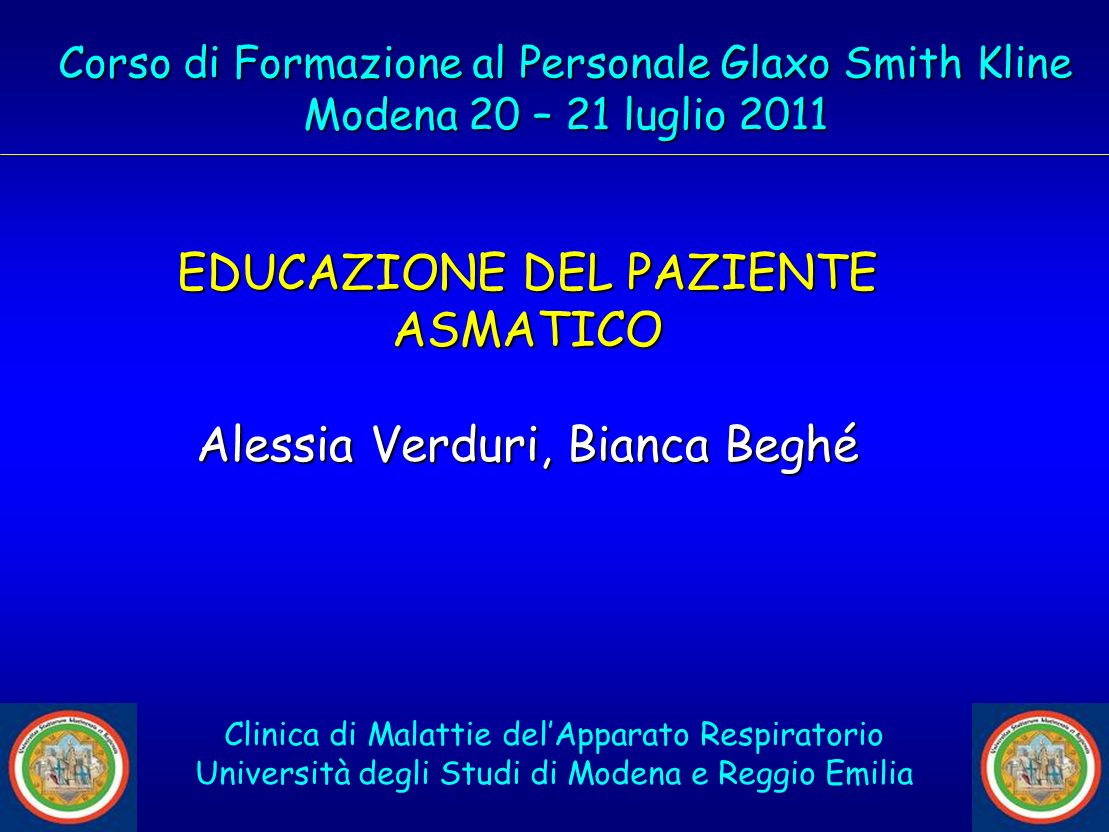 EDUCAZIONE DEL PAZIENTE ASMATICO Alessia Verduri, Bianca Beghé