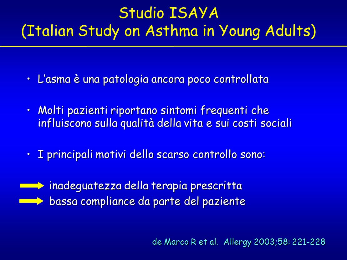 Studio ISAYA (Italian Study on Asthma in Young Adults)