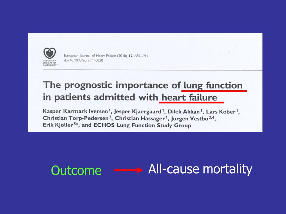 Outcome All-cause mortality