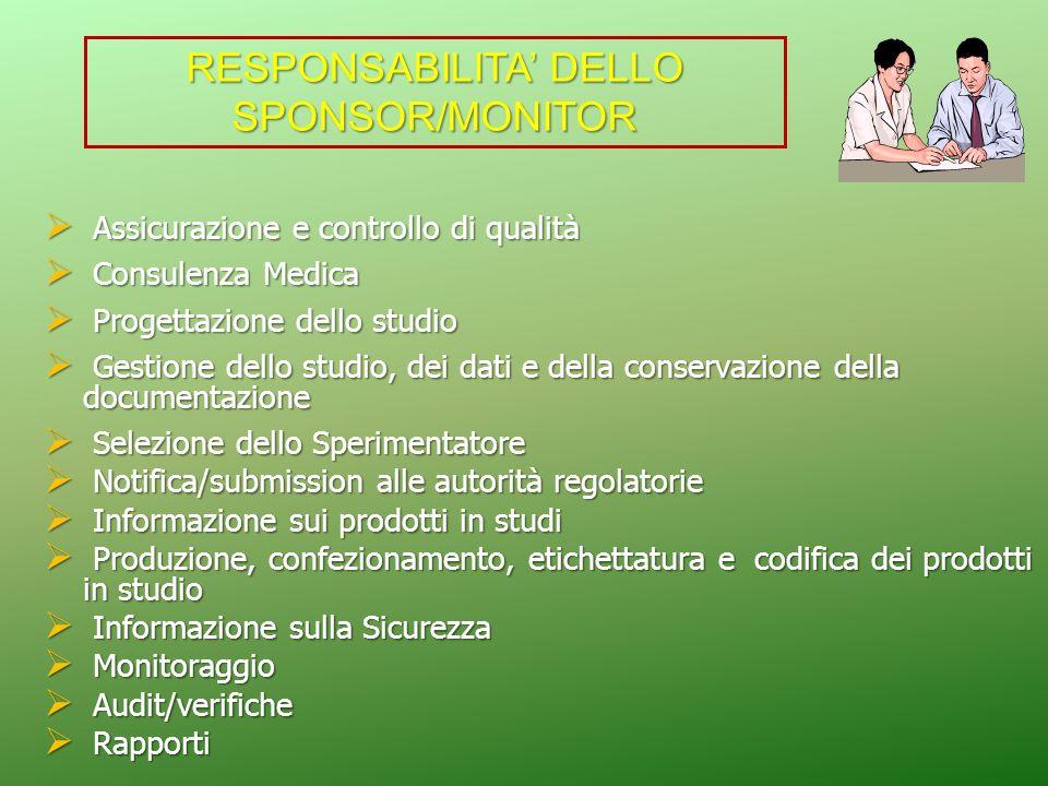 RESPONSABILITA' DELLO SPONSOR/MONITOR