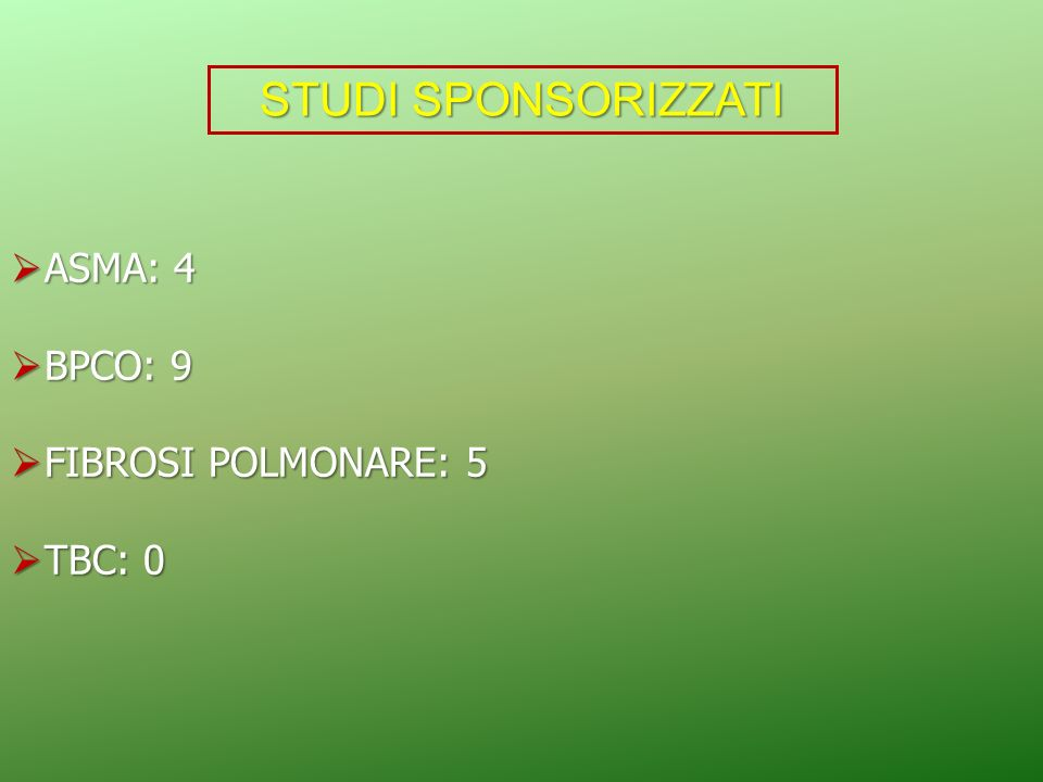 STUDI SPONSORIZZATI ASMA: 4 BPCO: 9 FIBROSI POLMONARE: 5 TBC: 0