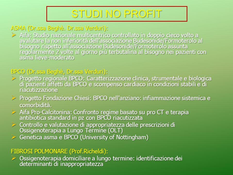 STUDI NO PROFIT ASMA (Dr.ssa Beghè. Dr.ssa Verduri):
