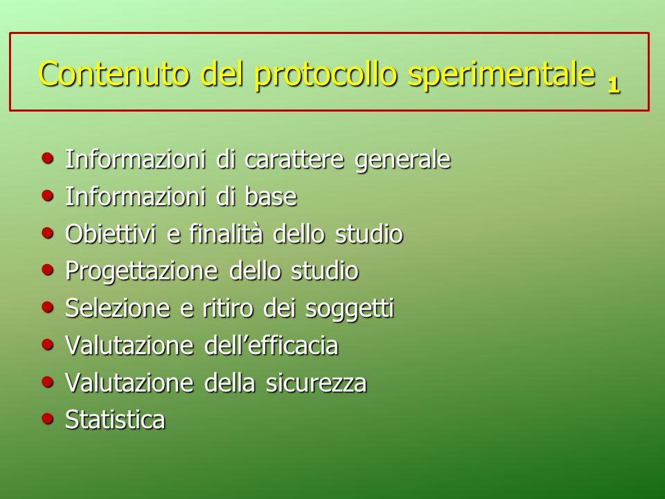 Contenuto del protocollo sperimentale 1