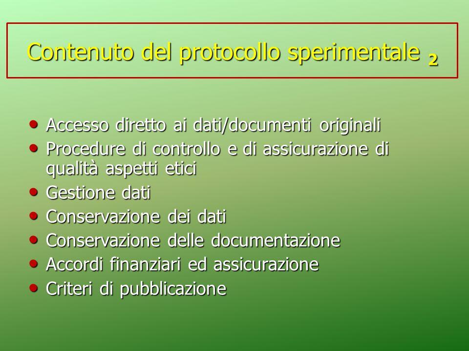 Contenuto del protocollo sperimentale 2