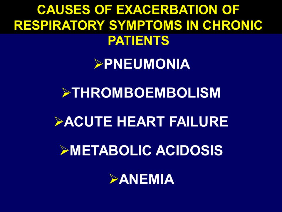 CAUSES OF EXACERBATION OF RESPIRATORY SYMPTOMS IN CHRONIC PATIENTS