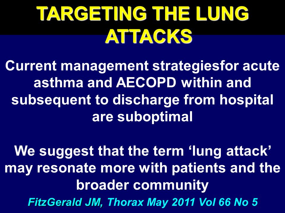TARGETING THE LUNG ATTACKS FitzGerald JM, Thorax May 2011 Vol 66 No 5