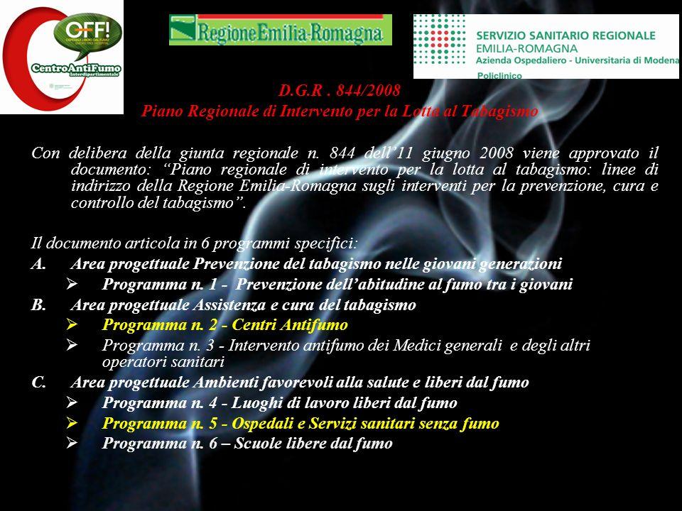 D.G.R . 844/2008 Piano Regionale di Intervento per la Lotta al Tabagismo