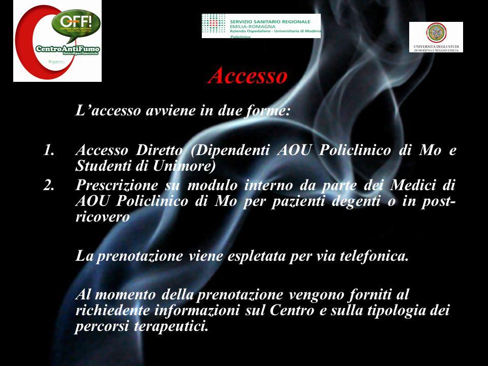 Accesso L'accesso avviene in due forme: