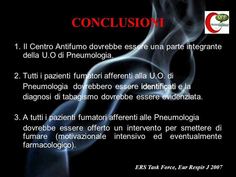 CONCLUSIONI 1. Il Centro Antifumo dovrebbe essere una parte integrante della U.O di Pneumologia. 2. Tutti i pazienti fumatori afferenti alla U.O. di.